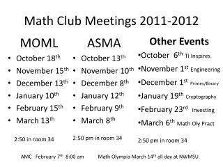 Math  Club  Meetings 2011-2012