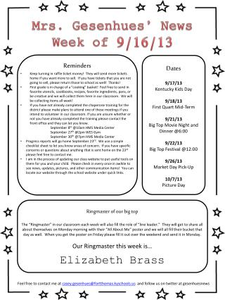 Mrs. Gesenhues' News Week of  9/16/13