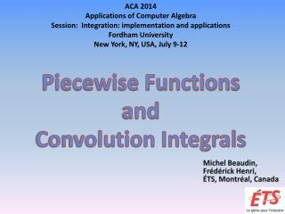 Piecewise Functions and  Convolution Integrals