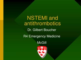 NSTEMI and antithrombotics
