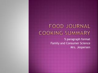Food Journal Cooking summary