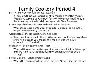 Family Cookery-Period 4