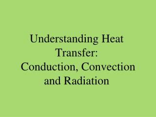 Understanding Heat Transfer:  Conduction, Convection and Radiation