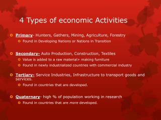 4 Types of economic Activities
