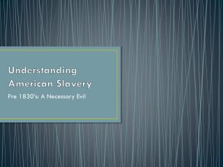 Understanding American Slavery