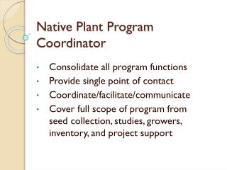 Native Plant Program Coordinator