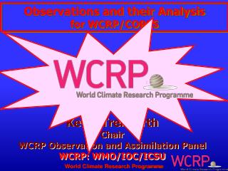 Kevin Trenberth Chair  WCRP Observation and Assimilation Panel WCRP: WMO/IOC/ICSU