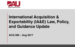 Defense Acquisition Workforce Policy Update