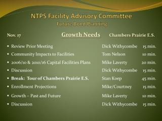 NTPS Facility Advisory Committee  Future Bond Planning