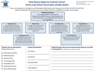 Holy Rosary Regional Catholic School  Home and School Association (HASA) Ballot
