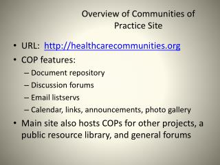 Overview of Communities of Practice Site