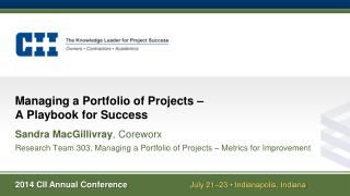 Managing a Portfolio of Projects �  A Playbook for Success