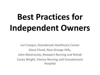 Best Practices for Independent Owners