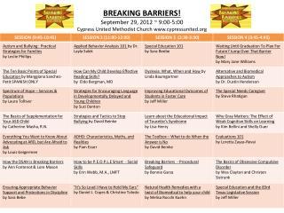BREAKING BARRIERS Schedule