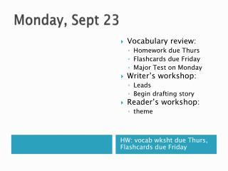 Monday, Sept 23