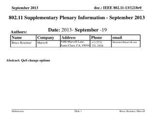 802.11 Supplementary Plenary Information - September 2013