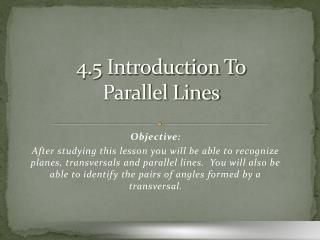 4.5 Introduction To Parallel Lines