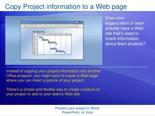 Copy Project information to a Web page
