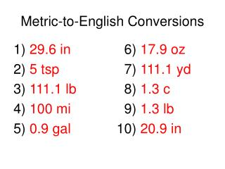 Metric-to-English Conversions