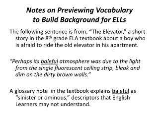 Notes on Previewing  Vocabulary  to  Build  Background for ELLs
