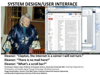 SYSTEM DESIGN/USER INTERFACE