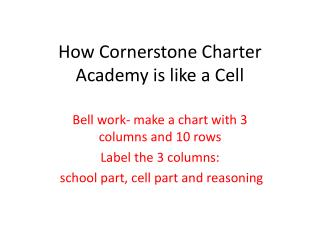 How Cornerstone Charter Academy is like a Cell