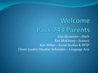 Welcome Pack 743 Parents