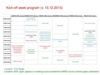 Kick-off week program  ( v.  13.12.2013 )