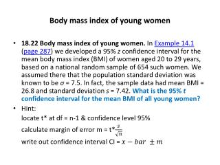 Body mass index of young women