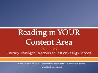 Reading in YOUR Content Area