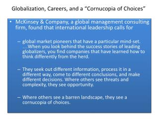 "Globalization, Careers, and a ""Cornucopia of Choices"""