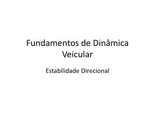 Fundamentos de Din�mica Veicular