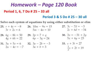 Homework – Page 120 Book