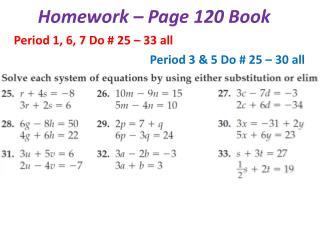 Homework – Page 120 Book