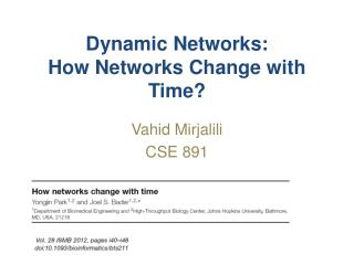 Dynamic Networks: How Networks Change with Time?