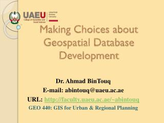 Making  Choices about Geospatial Database Development