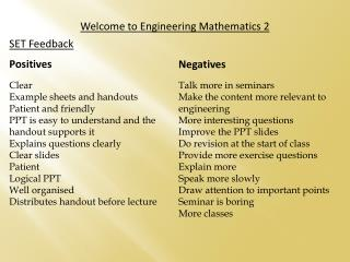 Welcome to Engineering  Mathematics 2