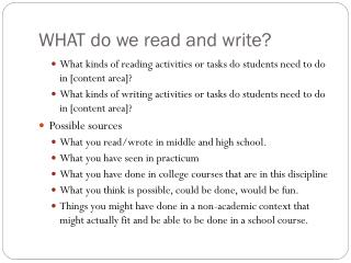 WHAT do we read and write?
