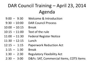 DAR Council Training – April 23, 2014 Agenda