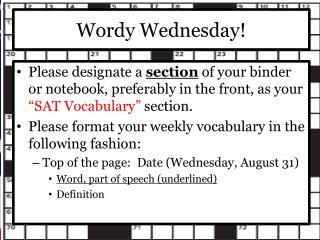 Wordy Wednesday!