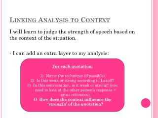 Linking Analysis to Context