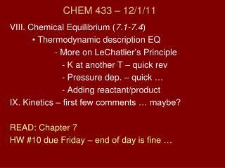 CHEM 433  – 12/ 1 / 11