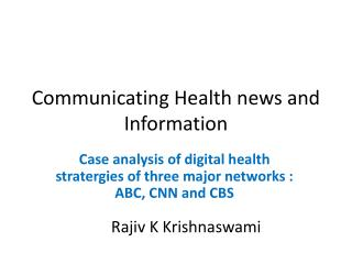 Communicating Health news and Information