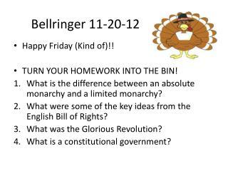 Bellringer  11-20-12