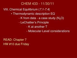 CHEM 433 - 11 /30/11