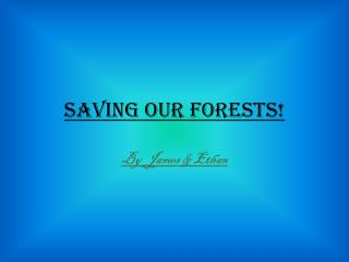 Saving our forests!