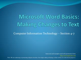 Microsoft Word Basics: Making Changes to Text