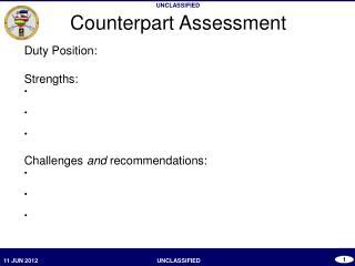 Counterpart Assessment
