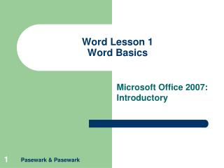 Word Lesson 1 Word Basics