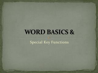 WORD BASICS &
